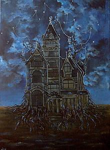 Obrazy - Viktoriánsky dom a obloha plná hviezd - Originál Maľba - 12684961_