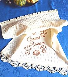 Úžitkový textil - Vianočná utierka s háčkovanou krajkou - 12683816_