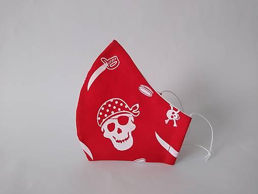 Dizajnové rúško pirát červené tvarované dvojvrstvové