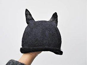 Čiapky - Vlnená čiapka čierny vlk - 12692820_