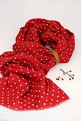 """Šály - Veľká dámska ľanová šatka/pléd sýtočervenej farby """"Rouge"""" - 12689827_"""