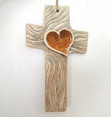 Dekorácie - Keramický kríž zo sklom - 12690021_