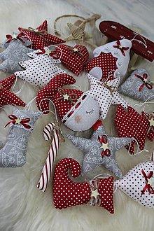 Dekorácie - Vianočné ozdoby šedo-červená kolekcia - 12689767_
