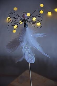 Dekorácie - Anjel zápich (Biela) - 12693120_