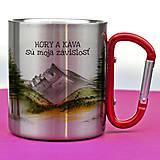 Nádoby - Nerezový hrnček s karabínkou-hory a káva - 12690227_
