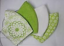 Rúška - Dámsky set - 4ks- rúško na tvár s otvorom pre filter - mix bielej a zelenej - 12692057_