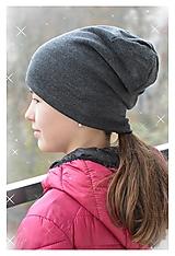 Čiapky - 100% merino zimná šmolko čiapka (antracit) - 12693359_