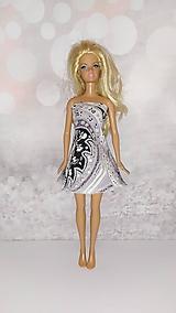 Hračky - Barbie, bieločierne šaty so širšou sukničkou - 12691456_