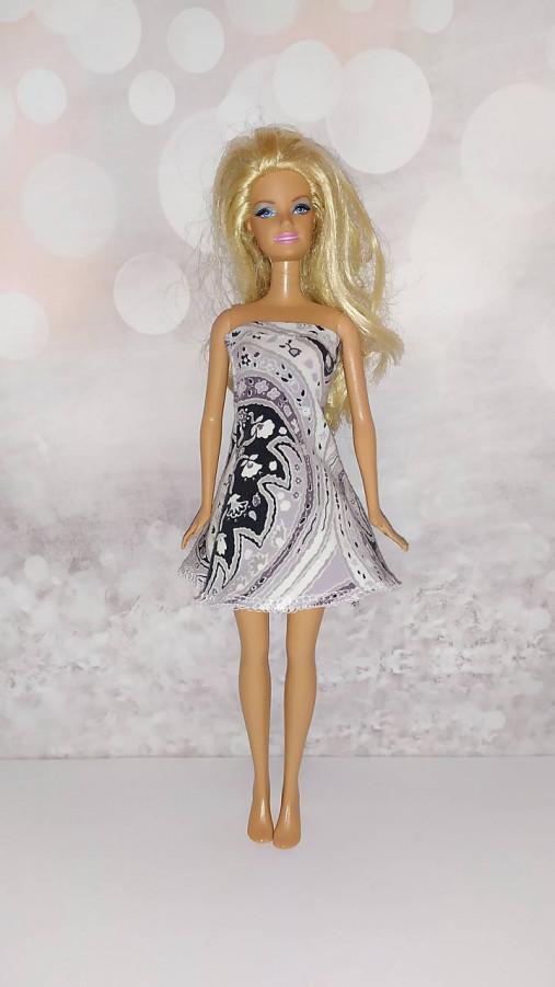 Barbie, bieločierne šaty so širšou sukničkou