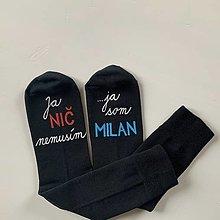 Obuv - Maľované ponožky s nápisom: Ja nič nemusím, ja som unicorn - 12691451_