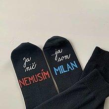 Obuv - Maľované ponožky s nápisom: Ja nič nemusím, ja som unicorn - 12691455_