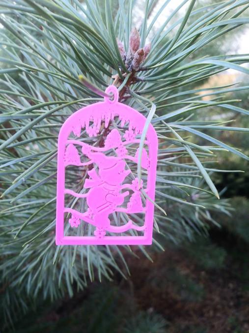 Vianočné ozdoby 2 (Ružová - lyžiar)