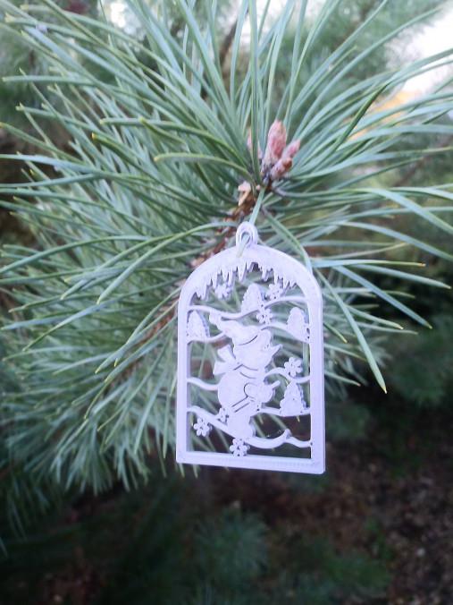 Vianočné ozdoby 2 (Strieborná - lyžiar)