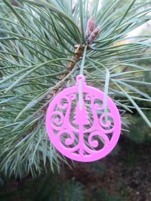 Dekorácie - Vianočné ozdoby 2 (Ružová - stromček) - 12688193_