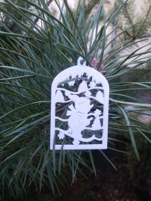 Dekorácie - Vianočné ozdoby 2 (Biela - lyžiar) - 12688247_