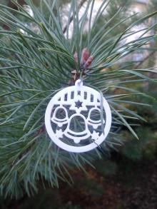 Dekorácie - Vianočné ozdoby 2 (Biela - zvonček) - 12688254_