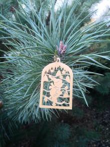 Dekorácie - Vianočné ozdoby 2 (Zlatá - lyžiar) - 12689925_