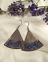 Náušnice - Modro-bordovo-medené trojuholníky - 12693525_