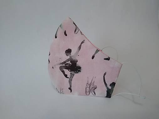 Dizajnové rúško balerína tvarované dvojvrstvové
