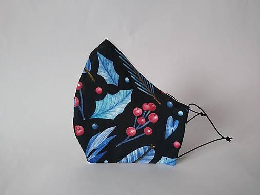 Dizajnové rúško zima čierna prémiová bavlna antibakteriálne s časticami striebra dvojvrstvové tvarované