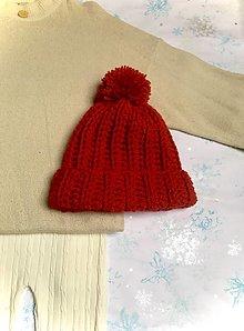 Čiapky - Chunky čiapka 100% natural, červená. - 12696850_