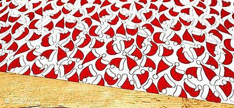 Textil - Bavlnená látka - MIkulášske čiapočky - cena za 10 cm - 12694522_