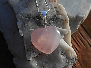 Náhrdelníky - pink rosa heart-ruženín-striebro-silver - 12699365_