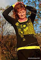 Tričká - Dámske tričko šité, maľované RAPSÓDIA V ŽLTOM - 12694698_