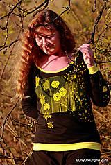 Tričká - Dámske tričko šité, maľované RAPSÓDIA V ŽLTOM - 12694759_