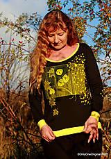 Tričká - Dámske tričko šité, maľované RAPSÓDIA V ŽLTOM - 12694770_