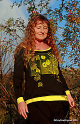 Tričká - Dámske tričko šité, maľované RAPSÓDIA V ŽLTOM - 12694793_