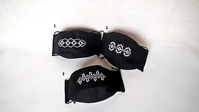 Rúška - Rúško čierne s bielou krajkou - 12696212_