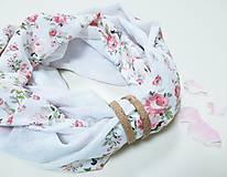 Šály - Dámsky ľanovo bavlnený dvojfarebný nákrčník - white roses - 12698029_