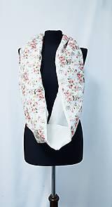 Šály - Dámsky ľanovo bavlnený dvojfarebný nákrčník - white roses - 12698031_