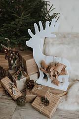 Dekorácie - Vianočný sob - biely 70 cm  - 12694571_