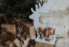 Dekorácie - Vianočný sob - biely 70 cm  - 12694572_