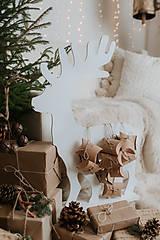 Dekorácie - Vianočný sob - biely 70 cm  - 12694573_