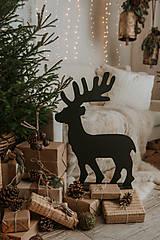 Dekorácie - Vianočný sob - čierny 70 cm - 12694787_
