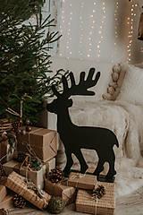 Dekorácie - Vianočný sob - čierny 70 cm - 12694789_