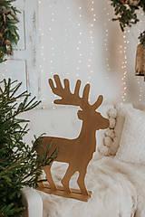 Dekorácie - Vianočný sob - zlatý 70 cm - 12697600_