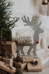 Dekorácie - Vianočný sob - strieborný 70 cm - 12697700_
