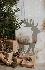 Dekorácie - Vianočný sob - strieborný 70 cm - 12697703_