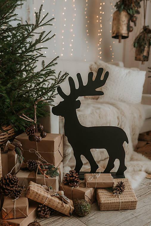 Vianočný sob - čierny 70 cm