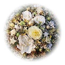 Dekorácie - Zimní pugétek - bílo-zelenkavá - 12699103_