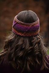 Ozdoby do vlasov - Čelenka CATHY, 100% merino (hnedo-fialová) - 12698173_