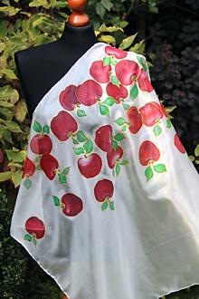 Šatky - IHNEĎ K ODBERU Červené jabĺčka na bielom hodvábe + GRÁTIS darčekové balenie... - 12696146_