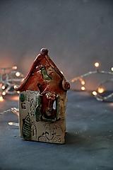 Svietidlá a sviečky - Svietnik dom oranžovo jahodovo zelený - 12694565_