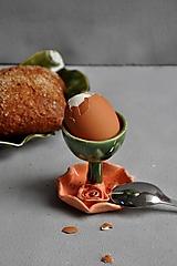 Nádoby - Stojan na vajíčka s ružou oranžovo jahodovo zelená - 12694804_