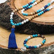 Náhrdelníky - Japa mála Hnedo - modrá v sete aj s náramkom - 12695863_