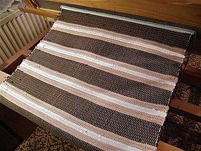 Úžitkový textil - Tkaný koberec bielo-hnedý - 12693791_